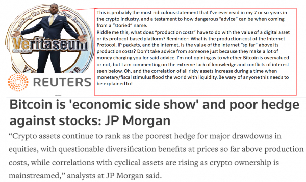 JP Morgan Values Bitcoin By Cost of Production? Wall Street Has No Idea What This Stuff Is